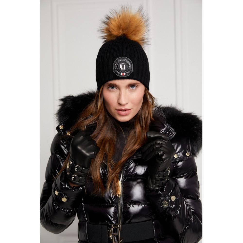 Holland Cooper Equi Knit Bobble Hat Black
