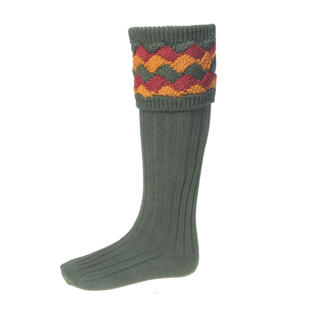 House of Cheviot House of Cheviot Bowhill sock with Garters - Spruce