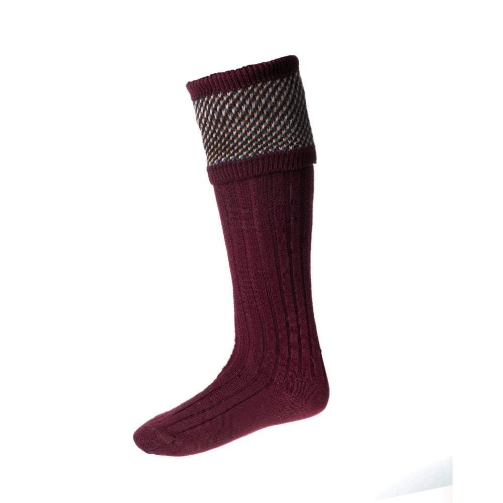 House of Cheviot Tayside Sock with Garters Burgundy
