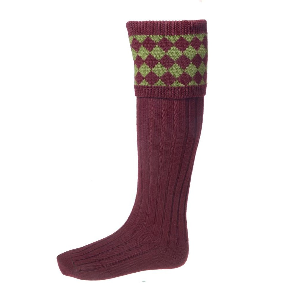 House of Cheviot House of Cheviot Chessboard Sock with Garter - Burgundy