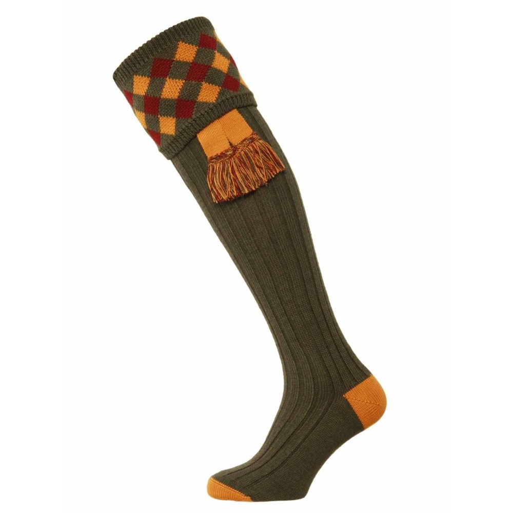 House of Cheviot Chequers Sock with Garter Spruce