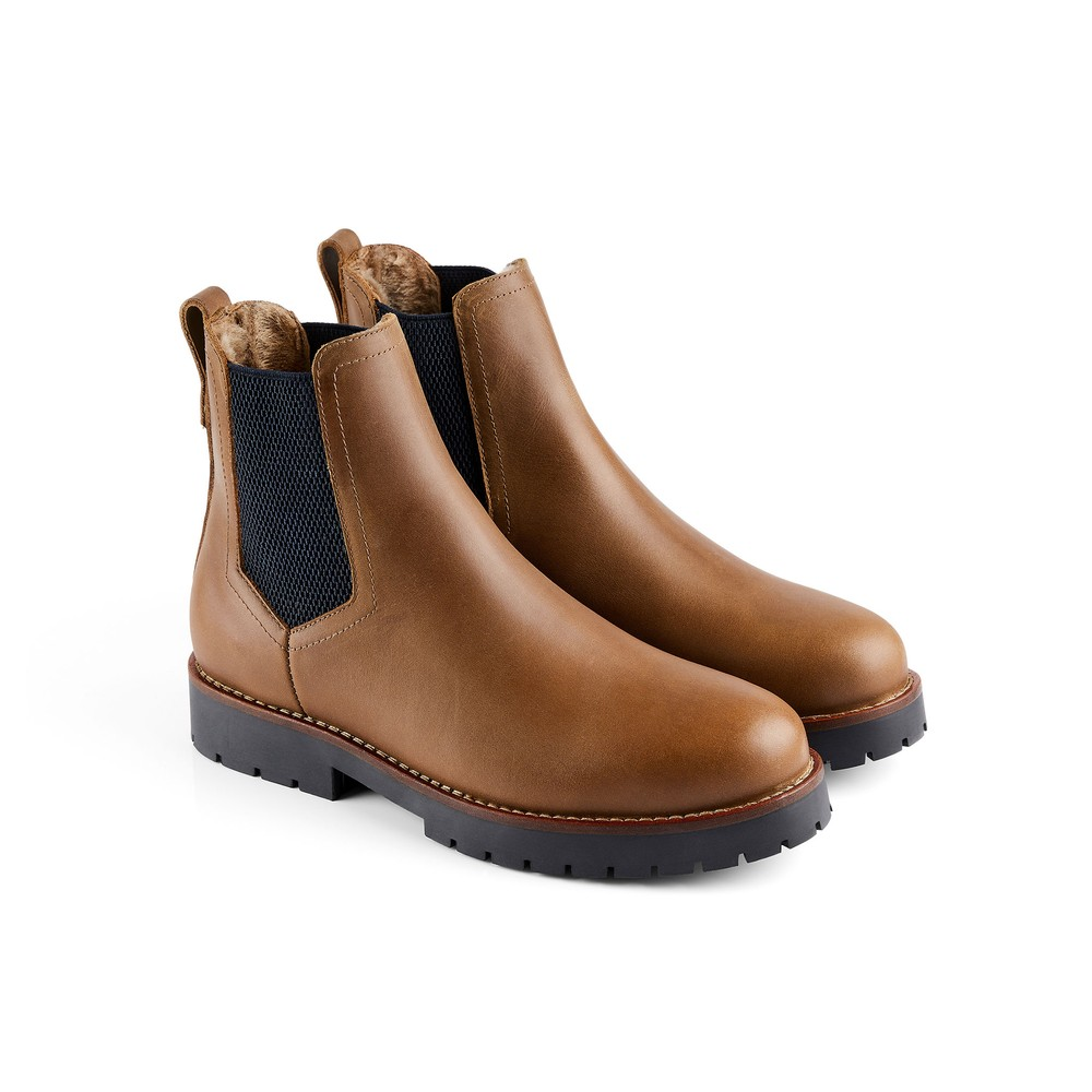 Fairfax & Favor Boudica Shearling Lined Ankle Boot Oak