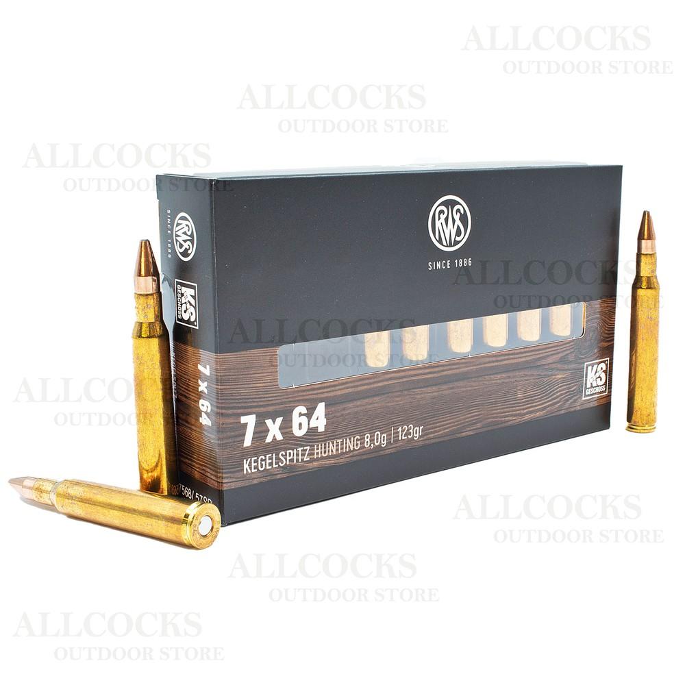 RWS 7x64 Ammunition - 123gr - Cone Point