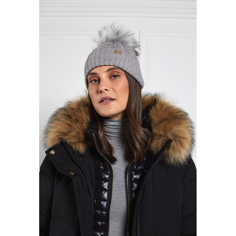 Holland Cooper Windsor Bobble Hat Grey Marl