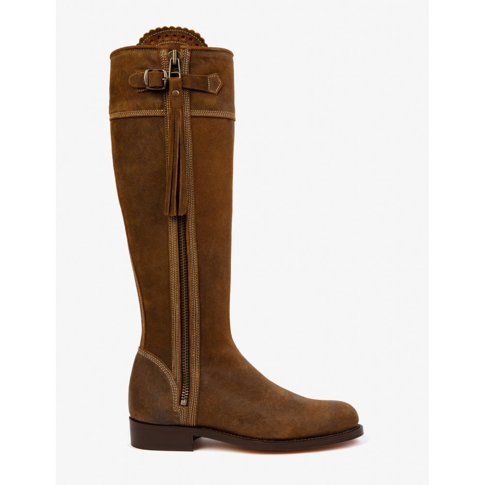 Penelope Chilvers Penelope Chilvers Riding Oiled Suede Long Tassel Boot - Tan