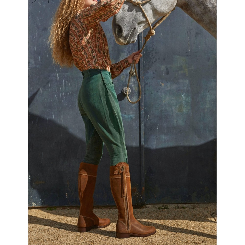 Penelope Chilvers Riding Oiled Suede Long Tassel Boot Tan