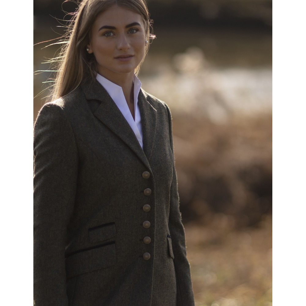 Anna Lascata Catherine Jacket Olive Navy Herringbone