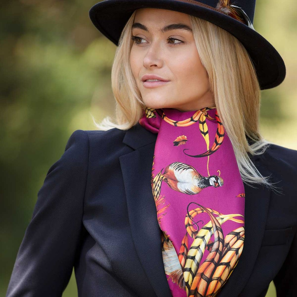 Clare Haggas Heads or Tails Classic Silk Scarf Mulberry