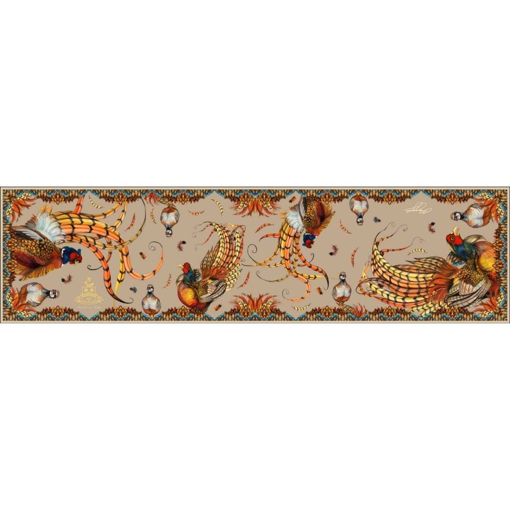 Clare Haggas Heads or Tails Classic Silk Scarf Toffee