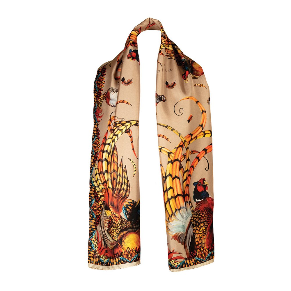 Clare Haggas Clare Haggas Heads or Tails Classic Silk Scarf - Toffee
