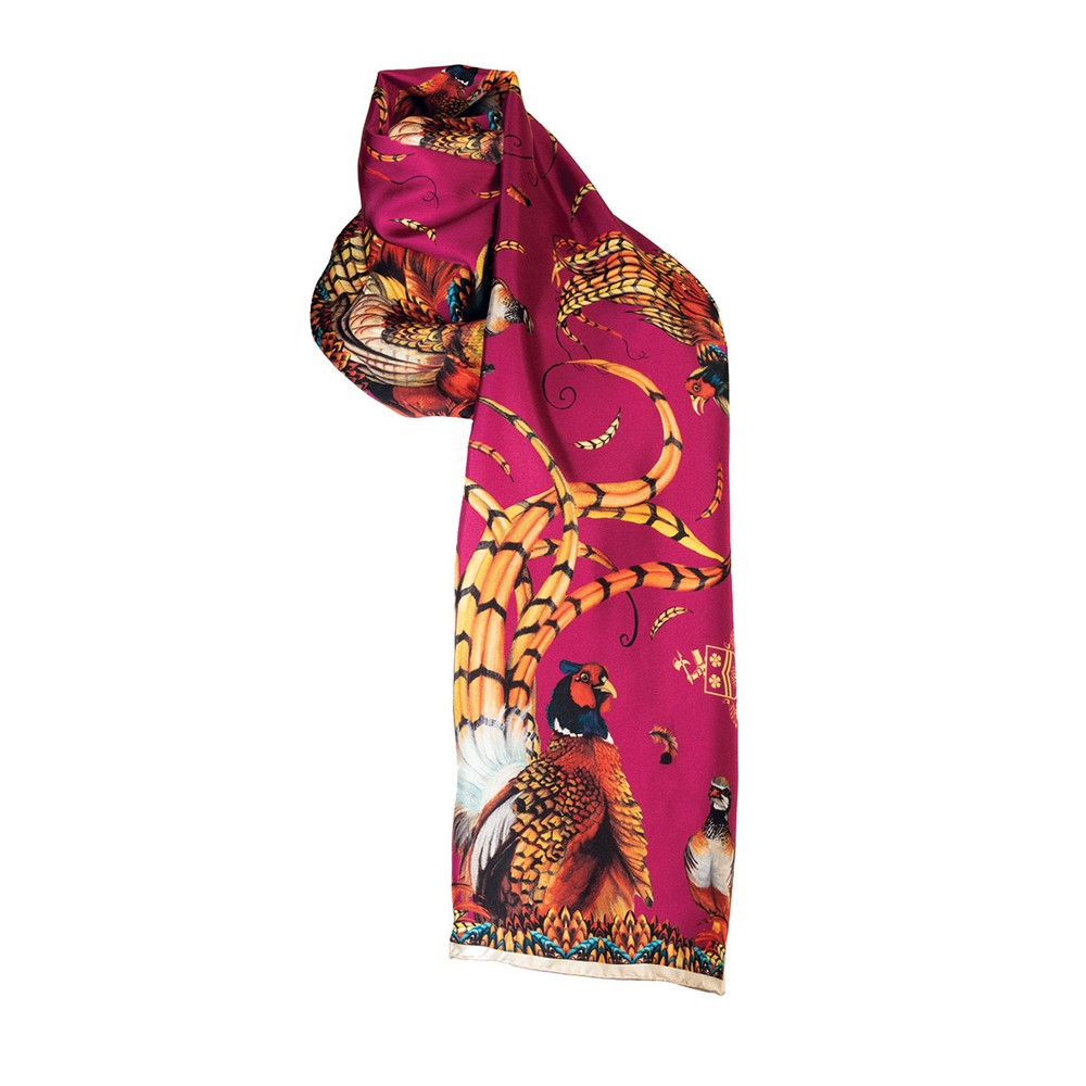 Clare Haggas Clare Haggas Heads or Tails Narrow Silk Scarf - Mulberry