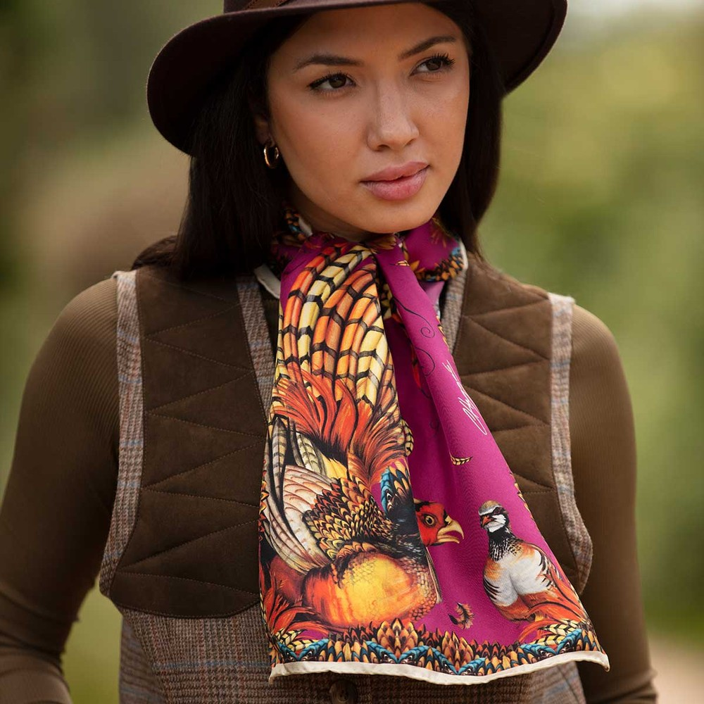 Clare Haggas Heads or Tails Narrow Silk Scarf Mulberry
