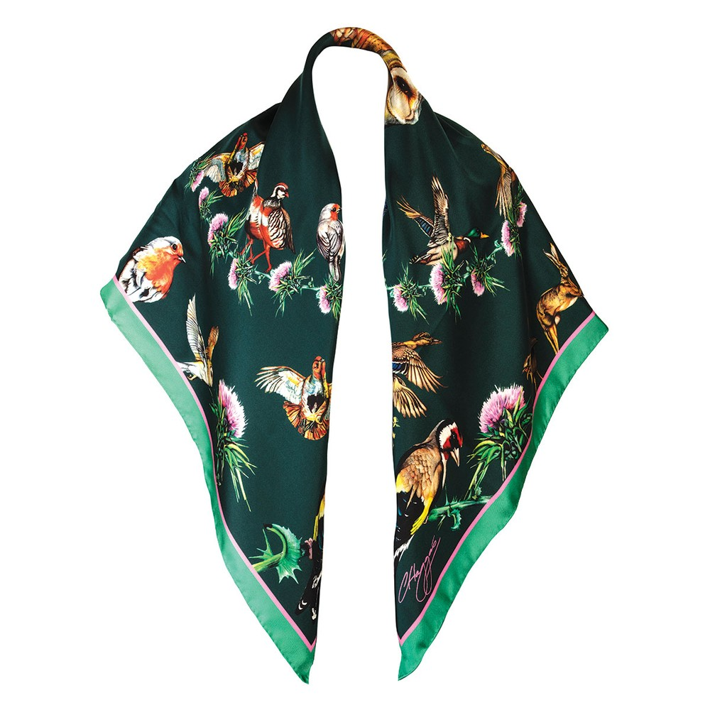 Clare Haggas Walk on the Wildside Large Silk Scarf Forest Green