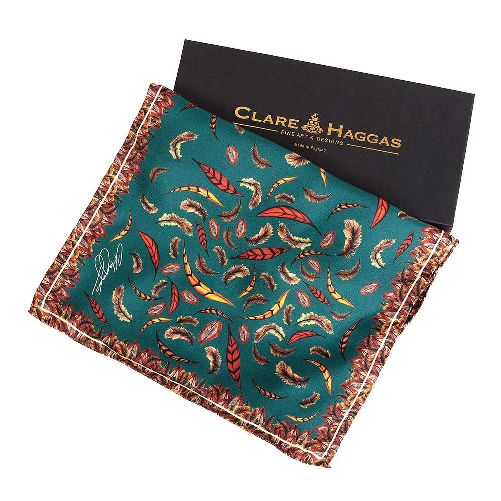 Clare Haggas Clare Haggas Birds of a Feather Narrow Silk Scarf - Teal
