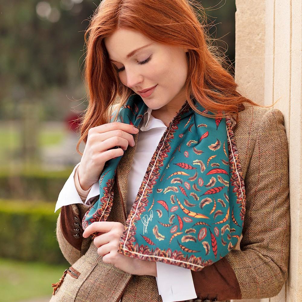 Clare Haggas Birds of a Feather Narrow Silk Scarf Teal