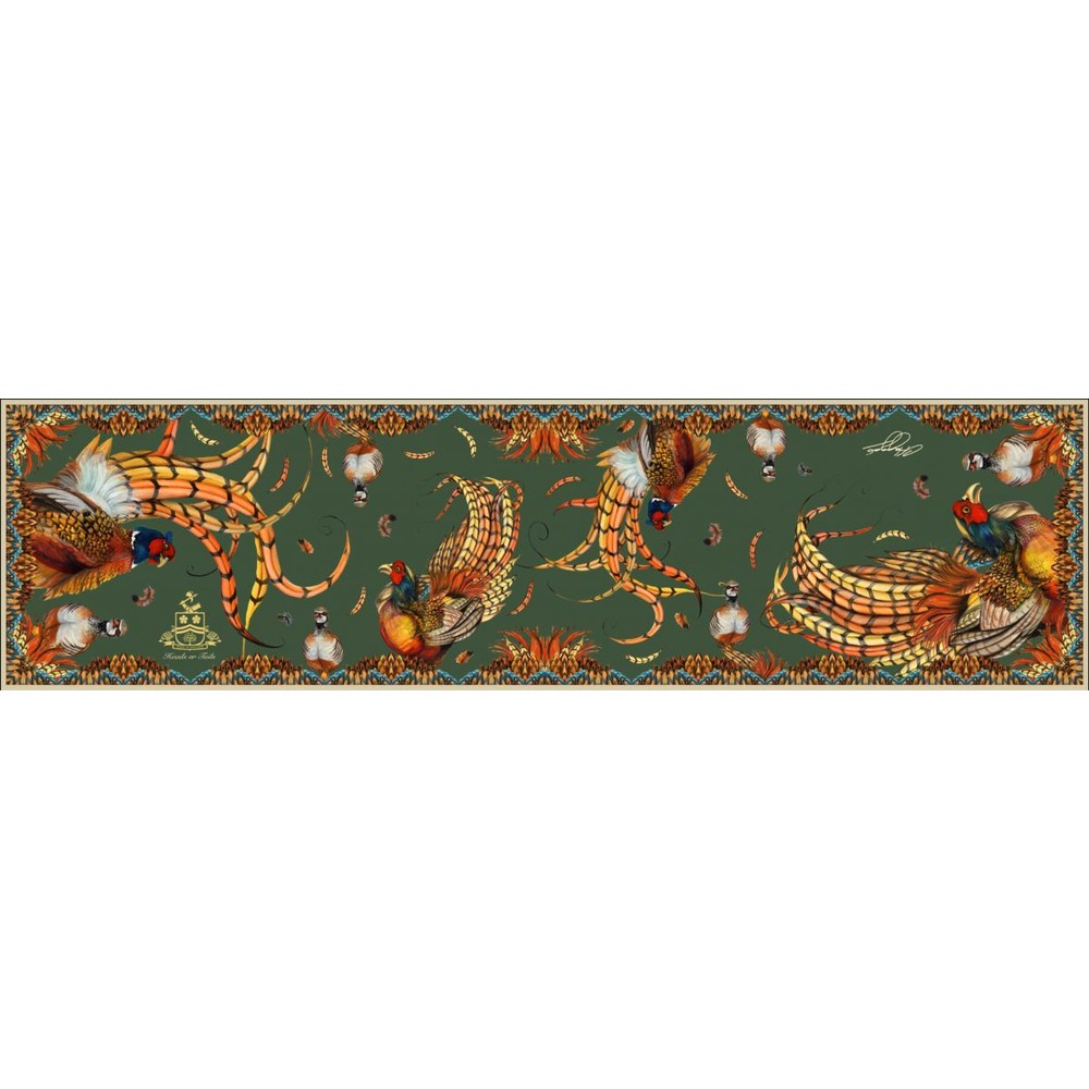 Clare Haggas Heads or Tails Classic Silk Scarf Khaki