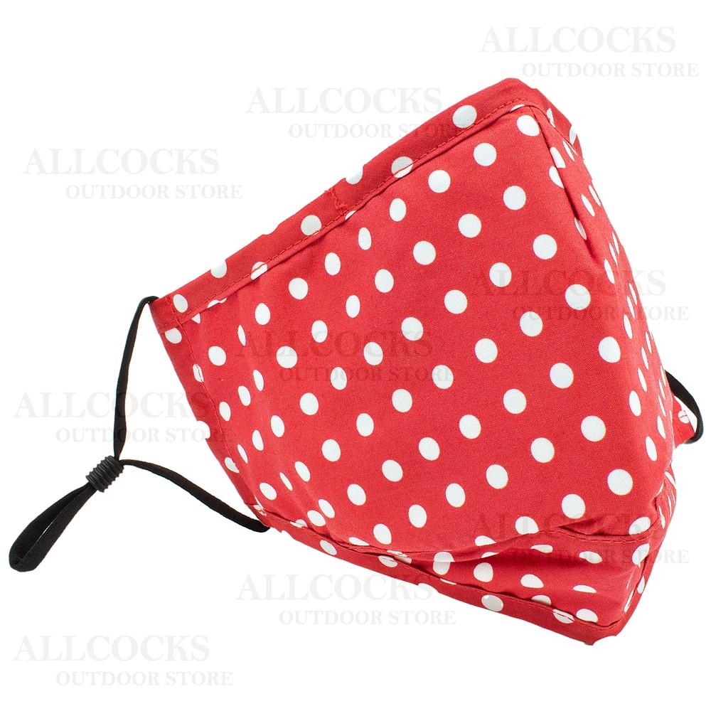 Allcocks Cotton Face Mask - Polka - Red