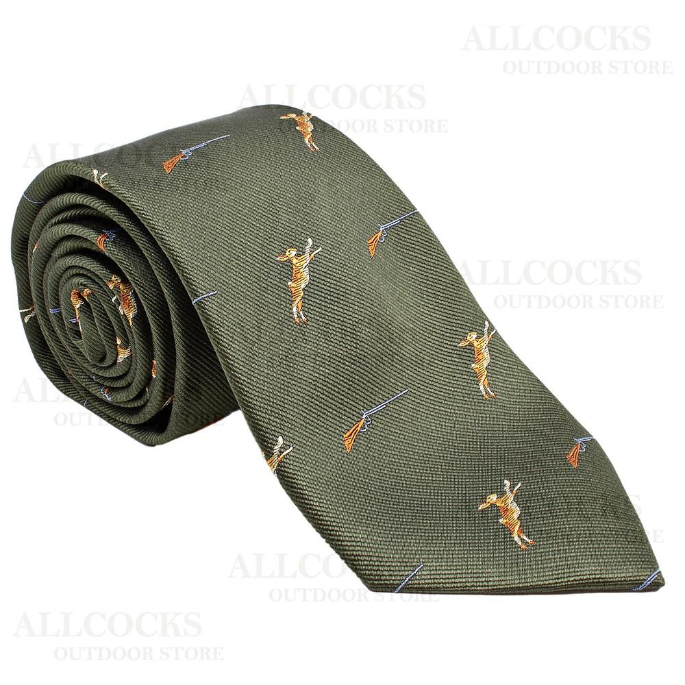 Allcocks Country Silk Tie - Hares & Shotgun - Country Green