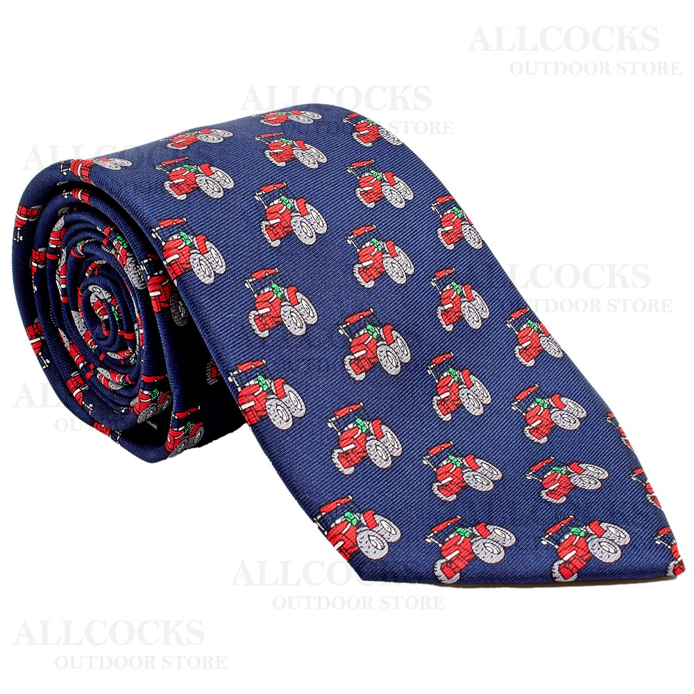 Allcocks Country Silk Tie - Red Tractor - Navy