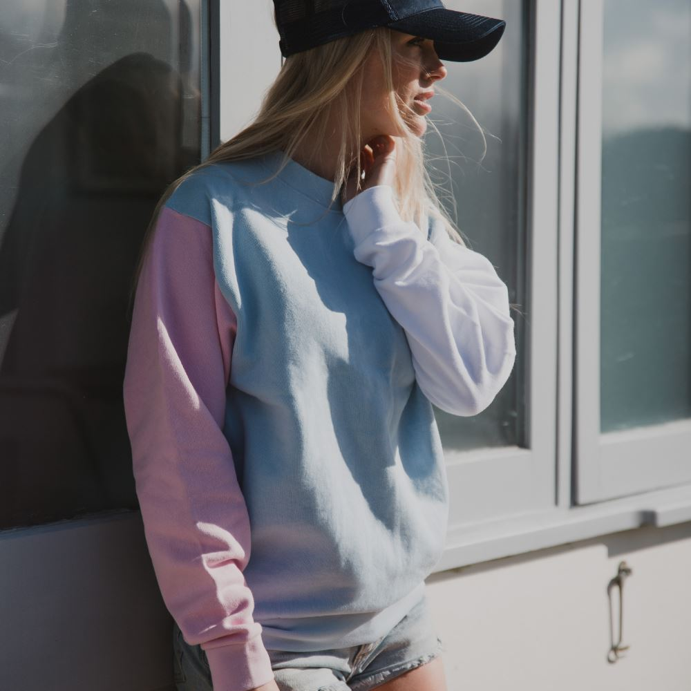 Whale of a Time Arnoux Sweatshirt - Pink/Blue/White Pink/Blue/White