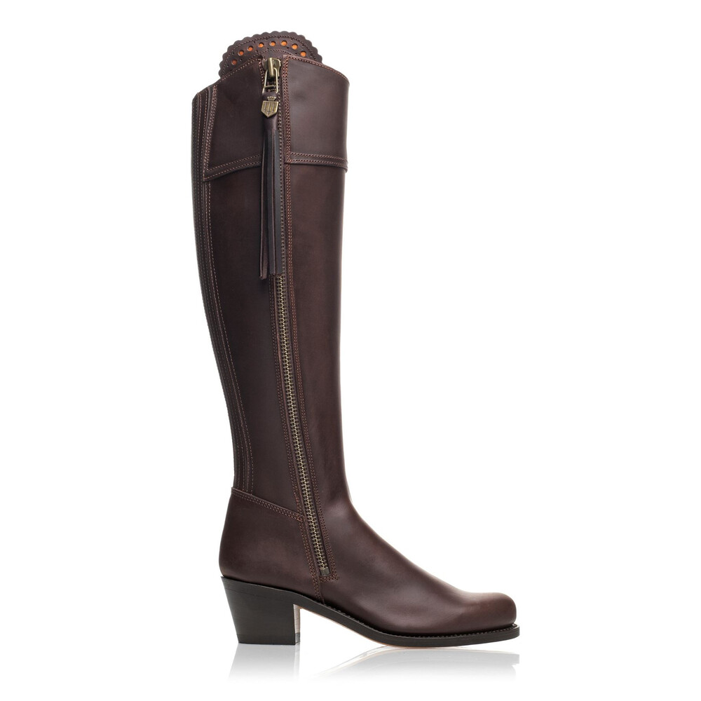 Fairfax & Favor Heeled Regina Leather Boot Mahogany