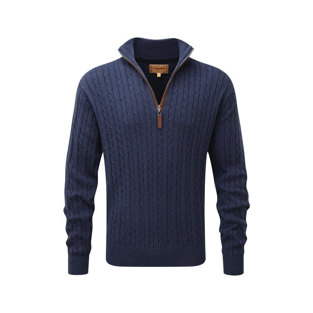 Schoffel Cotton Cashmere Cable 1/4 Zip Jumper