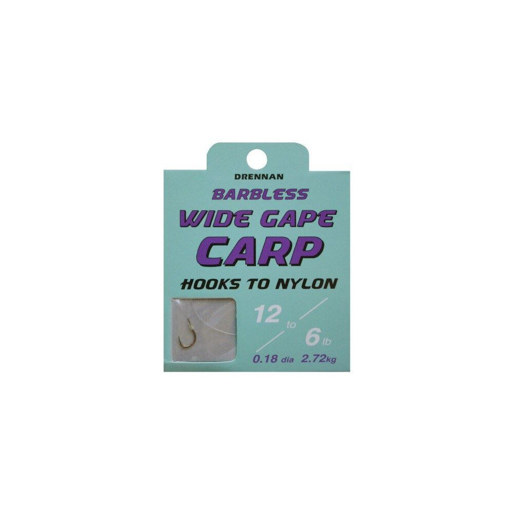 Drennan Hook To Nylon - Wide Gape Carp