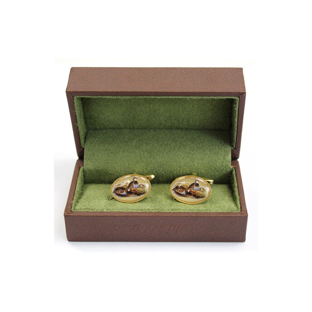 Soprano Country Cufflinks - Red Legged Partridge Gold