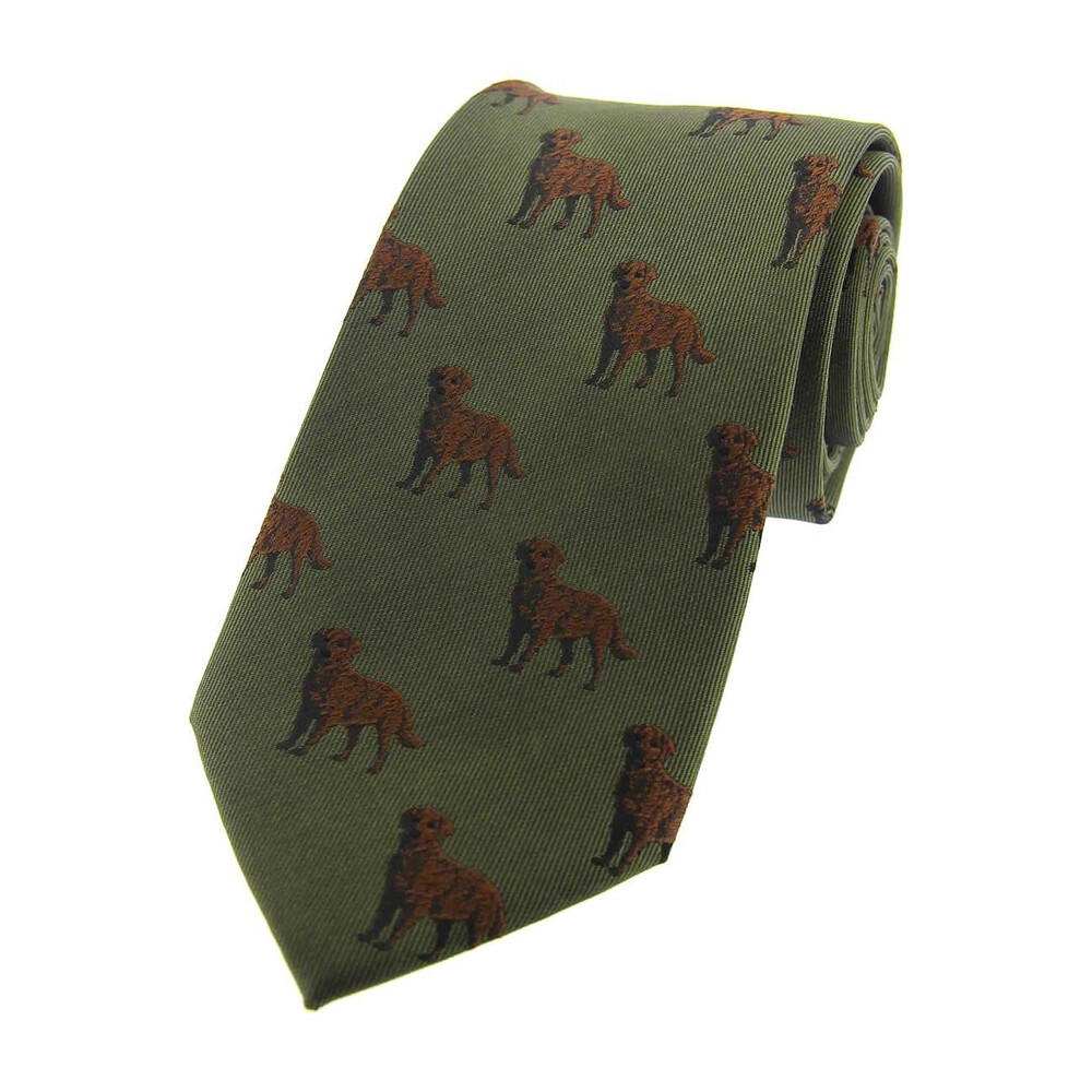 Soprano Country Silk Tie - Woven Chocolate Labrador - Country Green