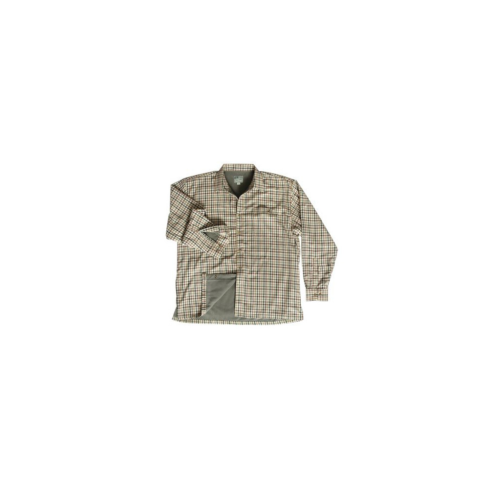 Hoggs Of Fife Hoggs Bracken Micro Fleece-lined Shirt - Olive/Tan Multi