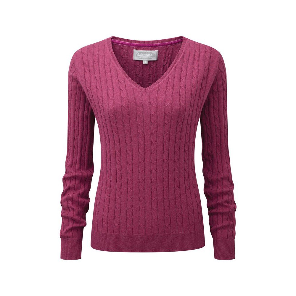 Schoffel Schoffel Ladies Cotton Cashmere Cable V-Neck Jumper - Raspberry