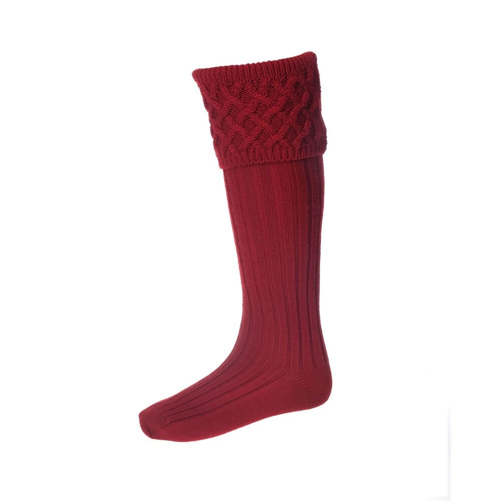 House of Cheviot Rannoch Sock with Garters - Brick Brick