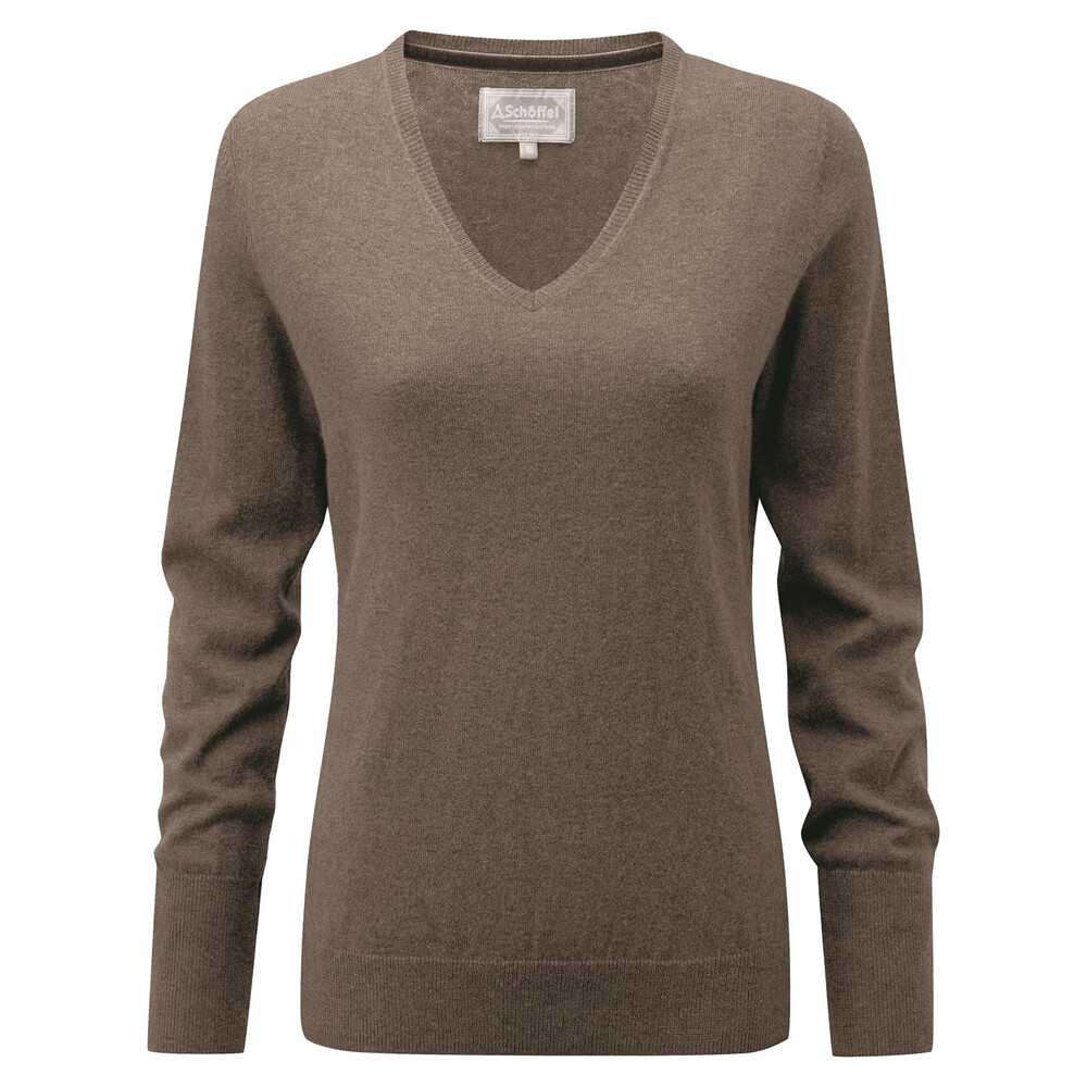 Schoffel Schoffel Ladies Cotton Cashmere V-Neck - Mink