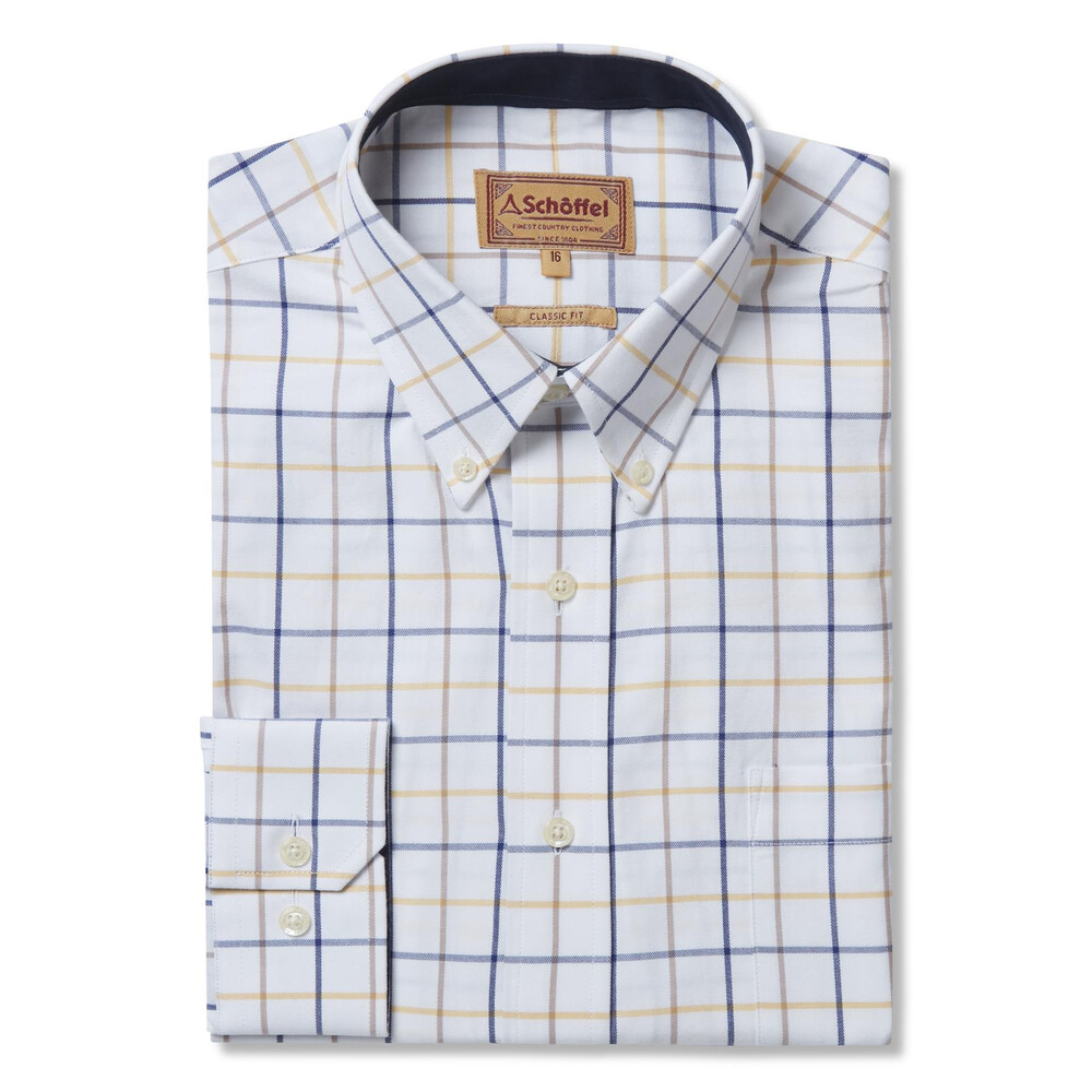 Schoffel Schoffel Brancaster Shirt - Navy/Brown/Yellow