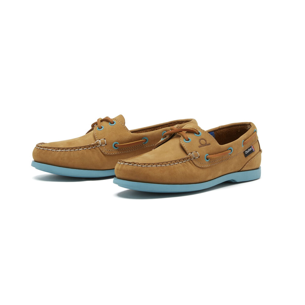 Chatham Pippa II G2 Leather Boat Shoe - Tan Turquoise Tan Turquoise