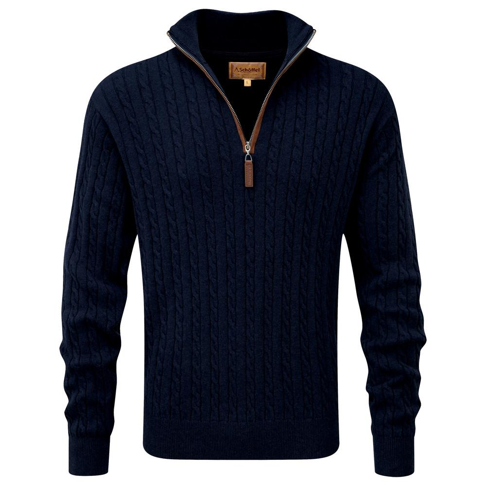 Schoffel Schoffel Cotton Cashmere Cable 1/4 Zip Jumper