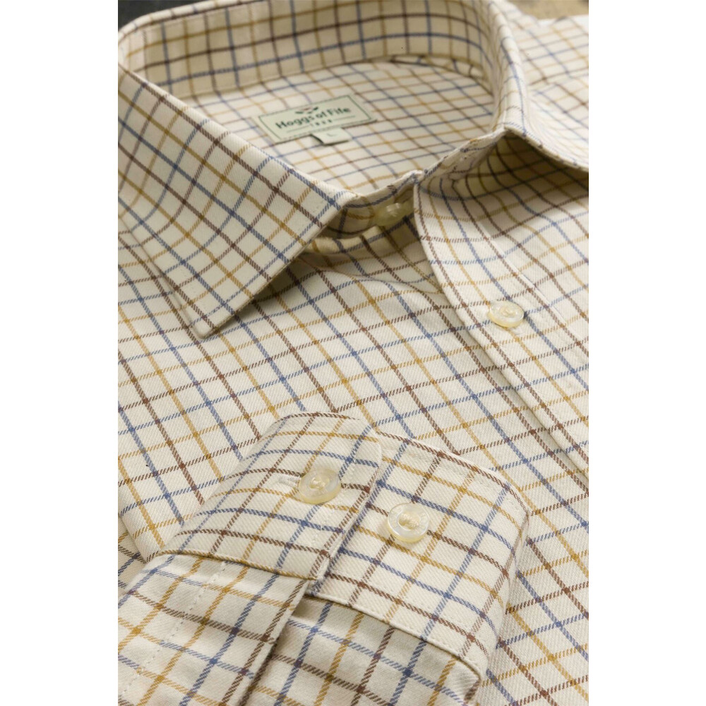 HOGGS OF FIFE Hoggs of Fife Pure Cotton Tattesall Shirt Dark Brown/Gold/Navy