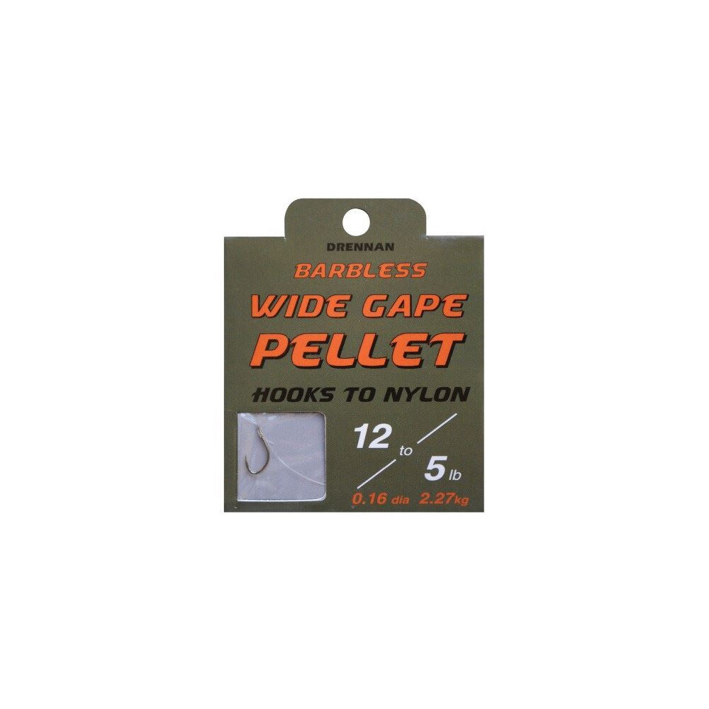 Drennan Hook To Nylon - Wide Gape Pellet Fishing Hooks