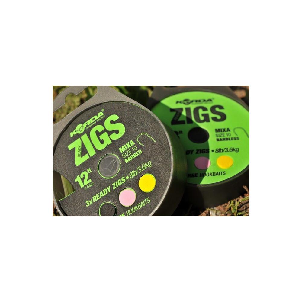 Korda Ready Tied Zigs 6ft - Barbless