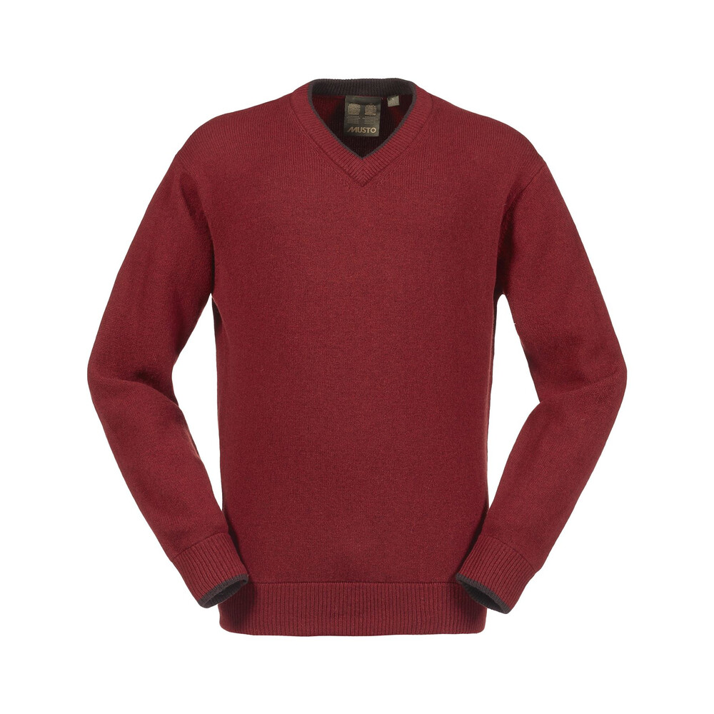 Musto Shooting V-Neck Knit - Dark Chilli