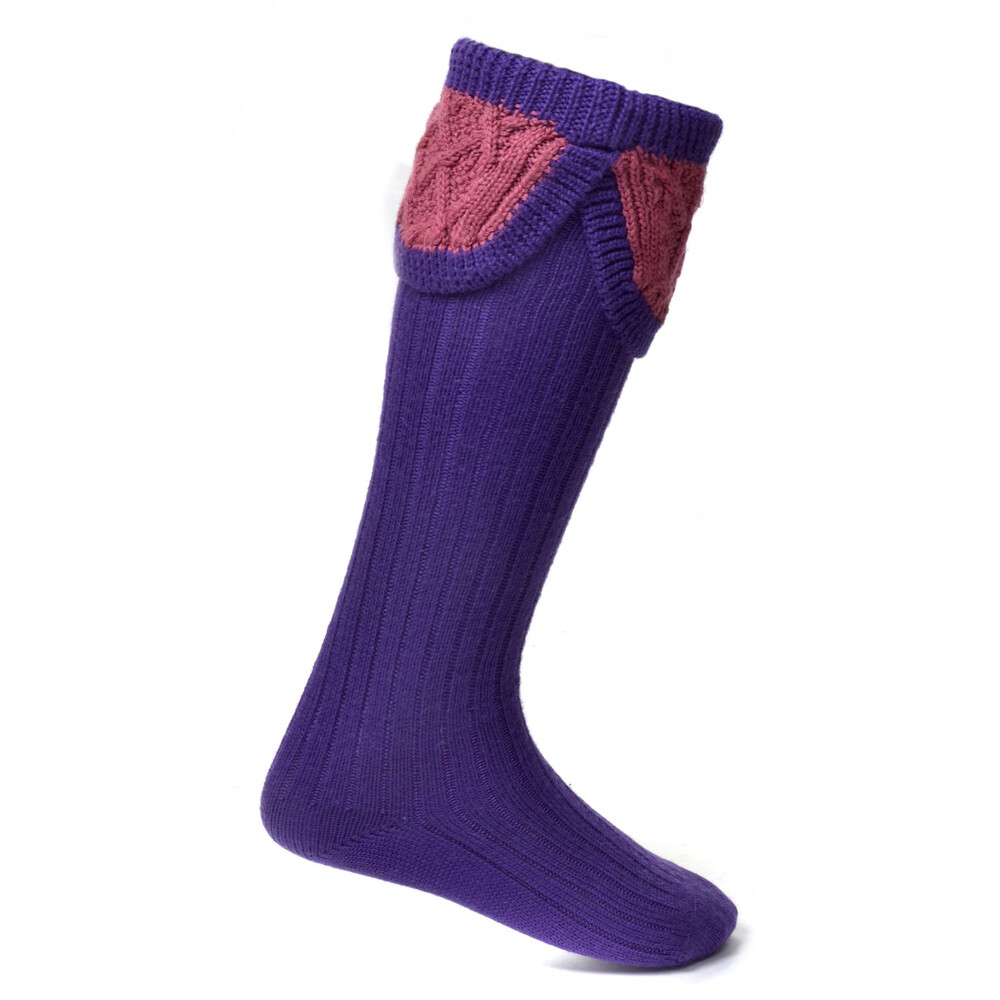 House of Cheviot Lady Crathie Sock - Violet/Dusty Pink Violet
