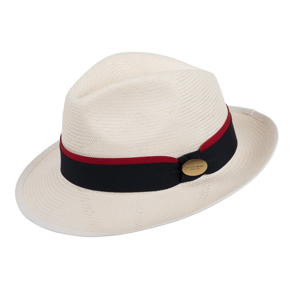 Hicks & Brown Holkham Panama Hat - Navy/Red Navy/Red