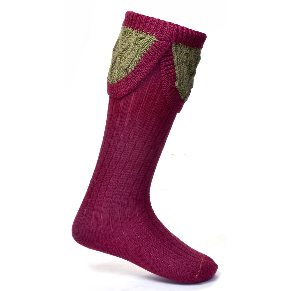 House of Cheviot House of Cheviot Lady Crathie Sock- Brick Red/Moss