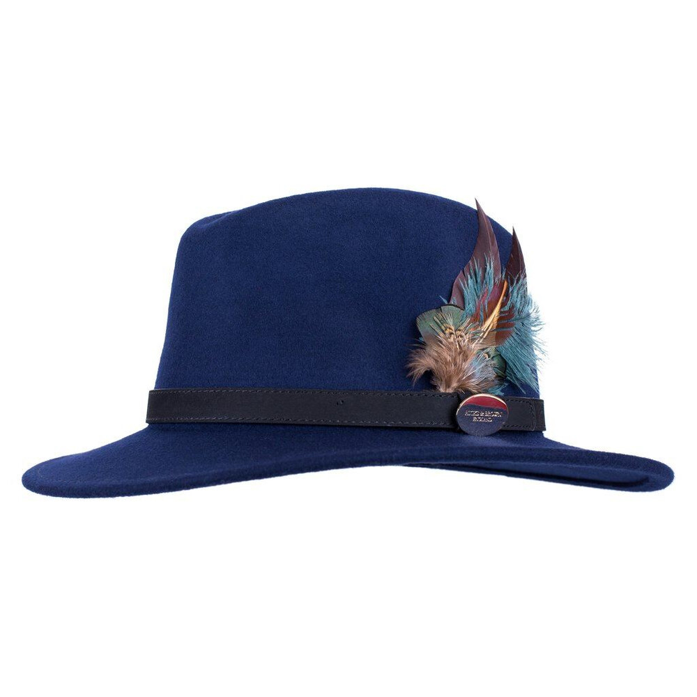 Hicks & Brown Suffolk Fedora Hat with Green Feathers - Navy Blue
