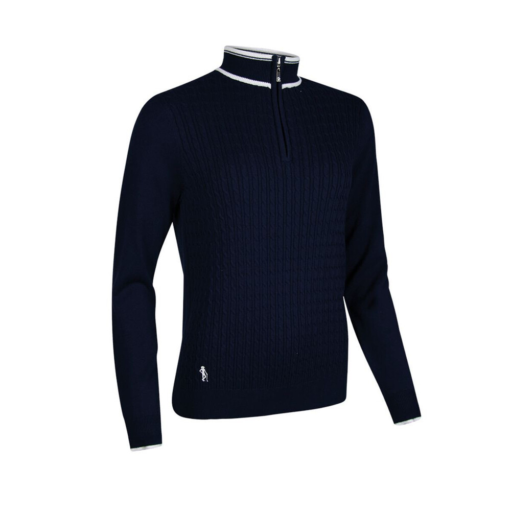 Glenmuir Glenmuir Marsha Ladies Cable Zip Neck - Navy/White
