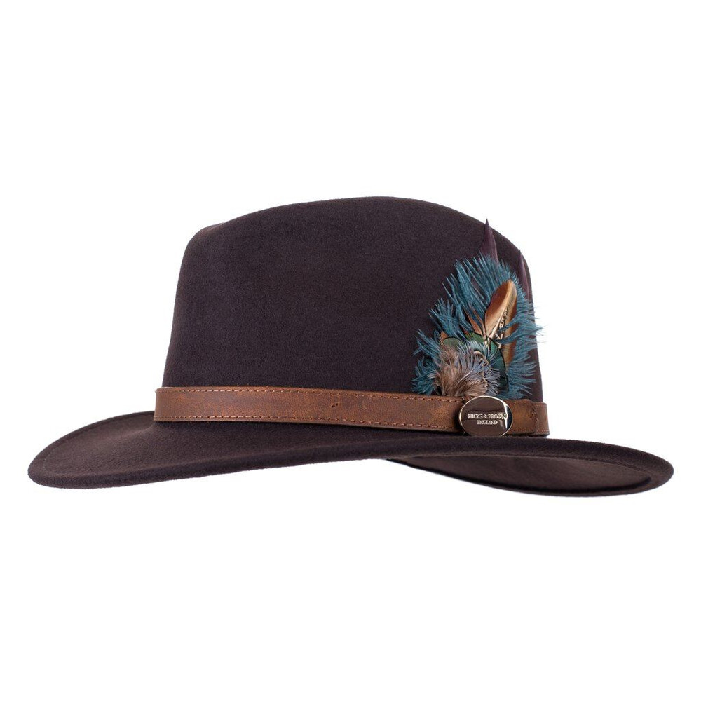 Hicks & Brown Hicks &  Suffolk Fedora Hat with Green Feather