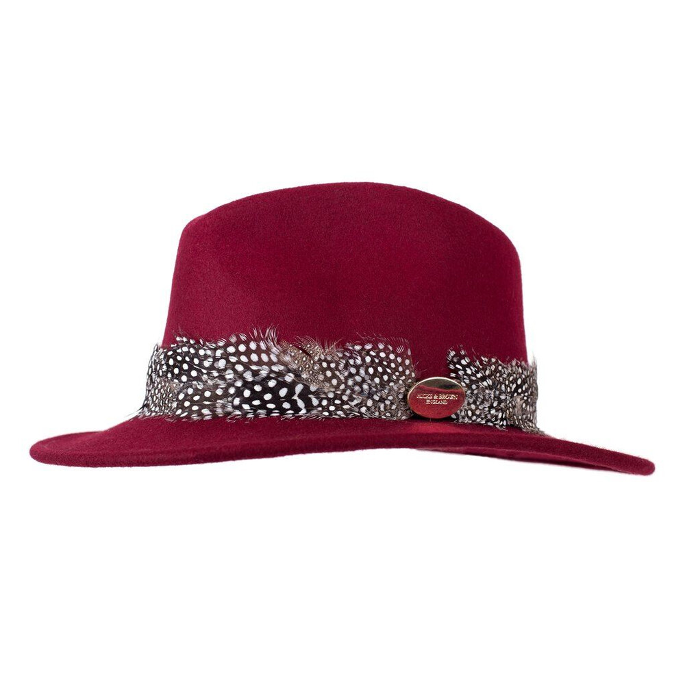 Hicks & Brown Suffolk Fedora Hat with Guinea Feather Wrap - Maroon Red