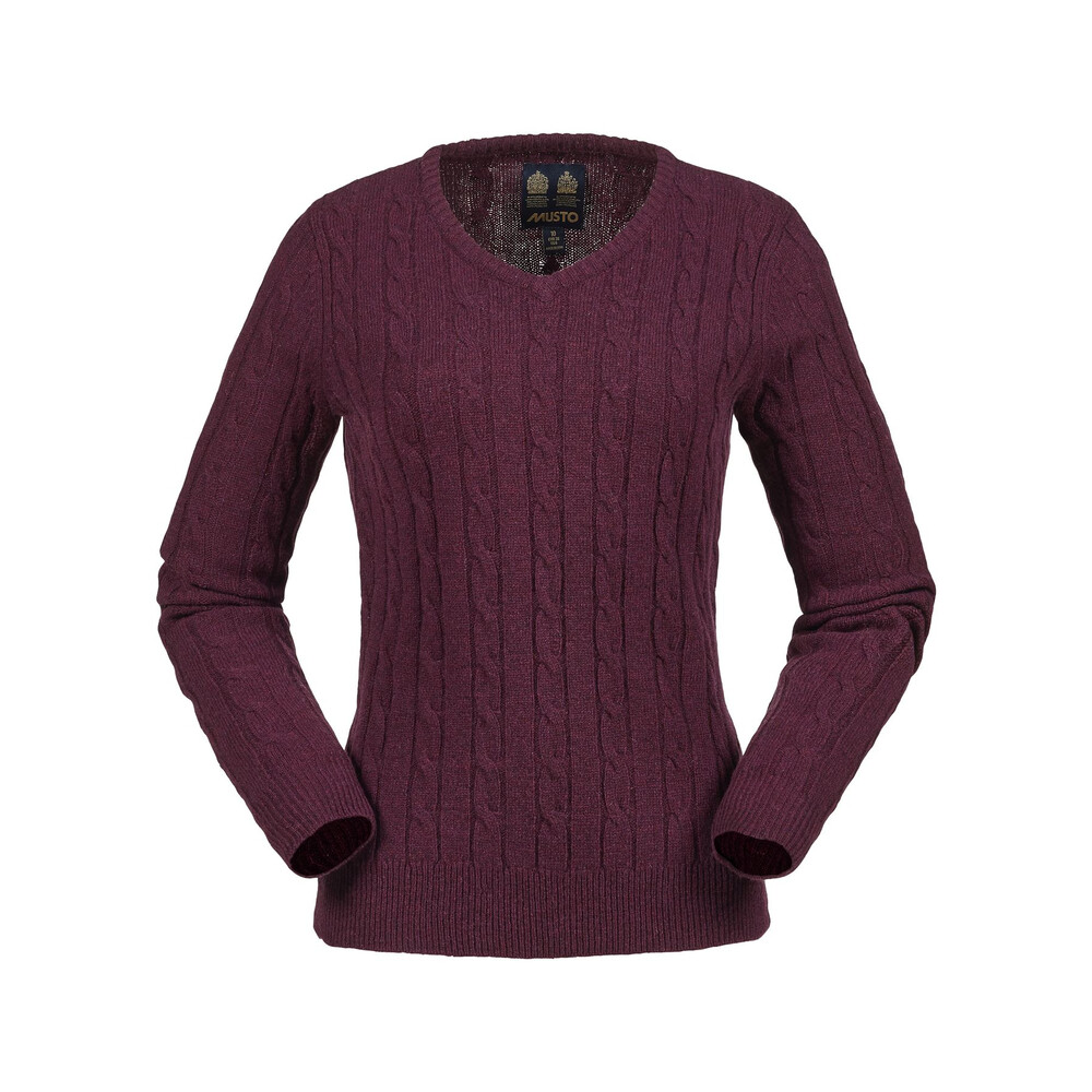 Musto Musto Women's Cable V Neck Knit - Damson