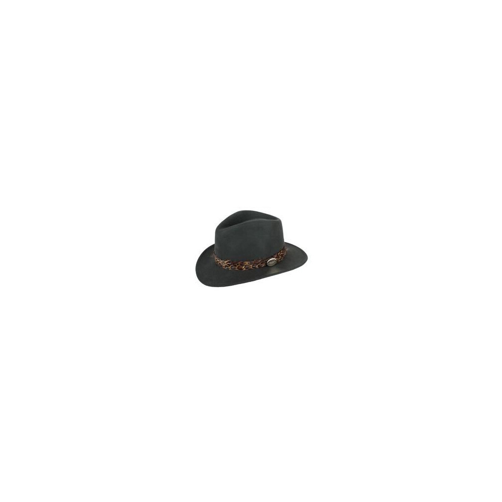 Hicks & Brown Suffolk Fedora Hat with Pheasant Feather Wrap - Olive Green