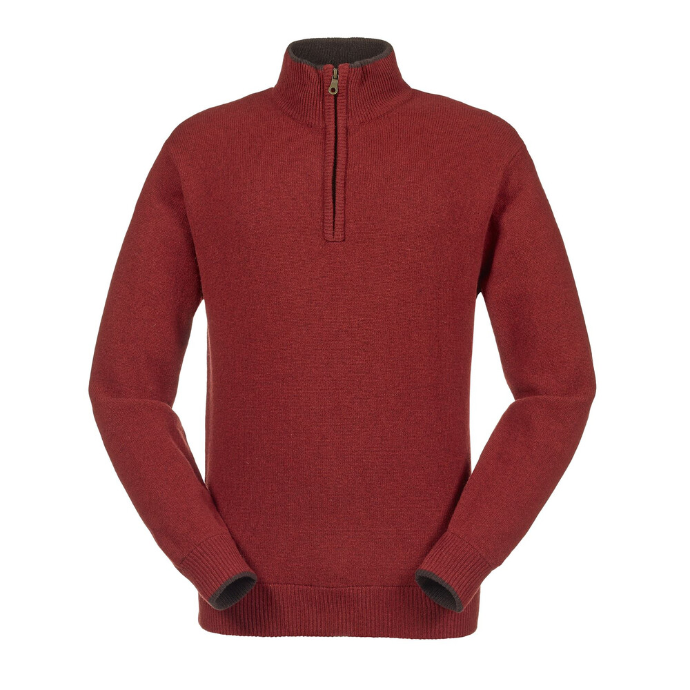 Musto Shooting Zip Neck Knit - Dark Chilli